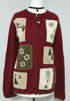 WOOL/ANGORA Cardigan CHRISTMAS Red Zip Knitted CROFT&BARROW Embroidered UK-14/16