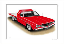 HOLDEN HQ 1TONNER FLAT BED  LIMITED EDITION CAR DRAWING PRINT  ( 7 CAR COLOURS)