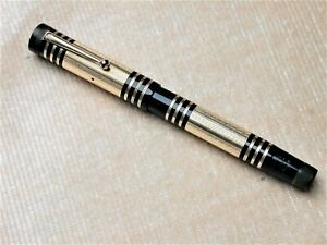 EXCELLENT VINTAGE MABIE TODD SWAN 275/60 FOUNTAIN PEN  - BLACK WITH GOLD.