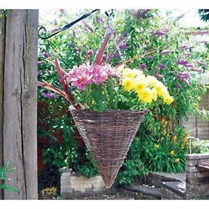 """Rattan Cone 12"""" Hanging Basket Garden Planter Chain and Liner, Natural Wicker"""