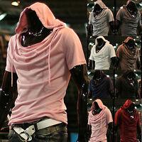 Fashion Men's Hooded T-shirt Korean Casual Hoodie Shirts Short Sleeve Cap Tops