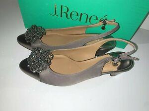 J Renee Melucy Pewter Grosgrain Slingback Shoes 8.5