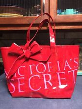 VICTORIA'S SECRET X-LARGE TOTE HANDBAG PATENT RED  LARGE BOW PINK LETTERING