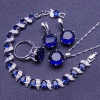 Very Beautiful BLUE SAPPHIRE 925 Silver Necklace Earrings Bracelet Ring Set