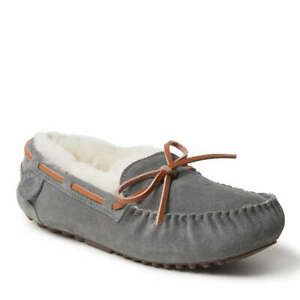 Women's Fireside by Dearfoams Victoria Shearling Slippers Grey  Size: US/10