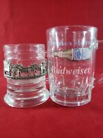 Budweiser Lot of 2 Vintage Collectible Shot Glass Toothpick Match Holders Rare