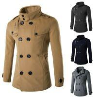 US Fashion Men's Winter Warm Overcoat Wool Coat Trench Coat Outwear Long Jacket