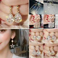 Luxury Crystal Geometric Earrings Long Tassel Star Dangle Women Wedding Gift