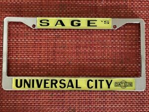 Sage's Universal City Datsun Vintage Embossed Metal License Plate Frame - NEW