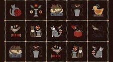 "Maywood Studio Sew Purrfect Flannel Patchwork Squares Panel Bonnie Sullivan 24"""