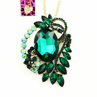 Betsey Johnson Crystal Rhinestone Big Flower Pendant Chain Necklace/Brooch Pin