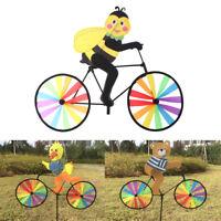 Cute 3D Animal on Bike Windmill Wind Spinner Whirligig Gardens Lawn Yard DeFBDU