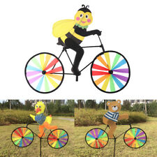 Lovely 3D Animal on Bike Windmill Wind Spinner Whirligig Garden Lawn Yard Decor