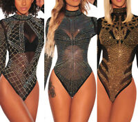 Women Mock Neck Rhinestone Studded Mesh Long Sleeves Bodysuit Underwear Jumpsuit