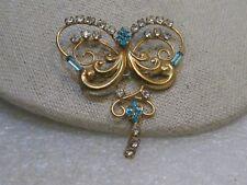 Vintage 1940's Rhinestone Brooch/Pendant, signed DeCurtis, Scrolled Butterflyish