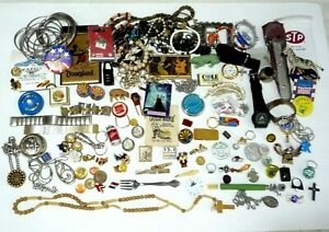 VINTAGE JUNK DRAWER LOT - JEWELRY, WATCH, COINS, PINS, RINGS