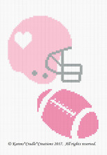 FOOTBALL and HELMET BABY GIRL Color Graph Afghan Pattern