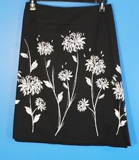 Addition Elle Womens Plus Size 20 Floral Skirt Black White A Line Knee Length