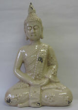Buddha Ceramic Sculpture Decoration Feng Shui Cream with Distressed Finish