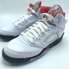 Nike Air Jordan 5 Retro GS Size 4y Uk3.5 True White Fire Red Basketball
