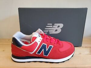 New Balance Classic 574 Red/Navy Suede Lifestyle Everyday Shoes for Men