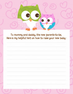 Owl Look Whooos Having a Baby - Baby Shower Notes of Advice for Mom - Set of 12