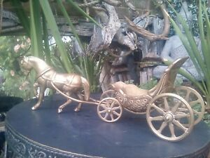 Authentic Vintage Brass Horse and carriage.