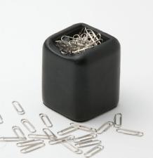 Leather Paper Clip Holder Black