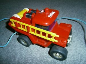 Rare Vintage early 1970's Red Plastic Toy Fire Engine battery operated Hong Kong