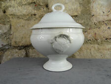 Antique French white ceramic soup tureen - From Choisy Le Roi 1880 - Vine Leaves