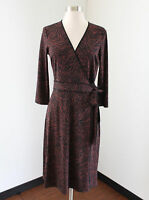 BCBG Max Azria Black Brown - Maroon Zebra Print Wrap Tie Dress Size S