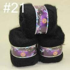 Lot of 3ballsX50g MOHAIR 50% Angora Cashmere 50% silk Knitting Yarn 21 Black