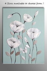 BUTTERFLY FLOWER PICTURE ZEN CANVAS ART PRINT DUCK EGG BLUE GREEN WHITE GREY