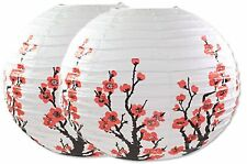 "2PC 16"" Chinese Japanese White Cherry Blossom Sakura Paper Lantern Wedding Decor"