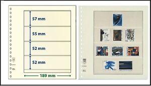 5 LINDNER 802400 T-Blanko-Blätter Blankoblätter 4 Taschen 57/55/52/52x189mm