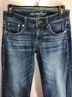 American Eagle Size 2 Jeans Denim Boyfriend Low Rise Medium Wash 5 Pockets BK41