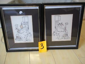 2 1990 HAND SIGNED & DRAWN BATHROOM TOILET PICTURES ROYAL FLUSH KING & QUEEN **