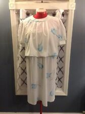 """Vintage """"Patti Greene"""" Sheer White With Blue Roses Sun Cocktail Dess Sz 10"""