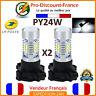 2 Ampoules LED PY24W Clignotant Blanc Ampoule Aluminium PGU20/4 SMD Flasher