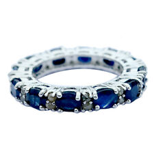 0.6 cts Diamond Blue Sapphire Eternity Ring 925 Sterling Silver Women Wedding Ri