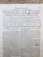 Louis 16 et la Constitution 1791 Rare Journal de la Révolution Française Paris