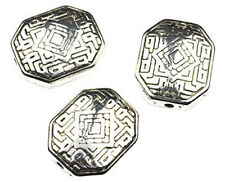 10 Antique Silver Puffed Octagon Plastic Beads 22MM