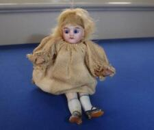 """ANTIQUE ALL BISQUE JOINTED GLASS EYES MIGNOTTE POCKET DOLL GERMAN OR FRENCH 4"""""""