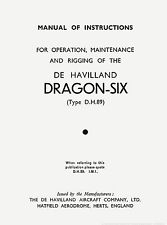 DE HAVILLAND DH-89 DRAGON - SIX / OPERATION, MAINTENANCE & RIGGING + BROCHURE
