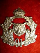 91st Regiment - Canadian Argyll & Sutherland Highlanders 1903-1923 Cap Badge
