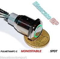 PULSANTE SPDT MONOSTABILE LED VERDE 12V waterproof auto moto camper nautica pc