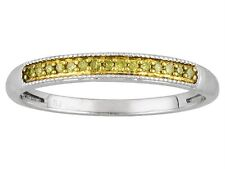 Sterling Silver Yellow Diamond Band Stackable Anniversary Ring .10ct Size 8