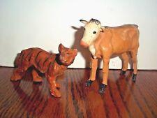 Miniature Animal Figurines Wood Legs Tiger Cow