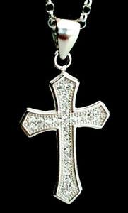 Sterling Silver 925 Simulated Diamond Cross Crucifix Pendant Necklace Chain.