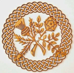 Wooden MDF Plaque Blank shape - Thistle & Rose in Celtic ornamental round frame